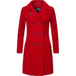 Marikoo Wintermantel Nanakoo edler Damen Trenchcoat in Wollmantel-Optik rot XL (42)