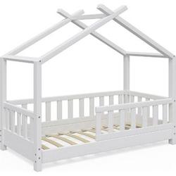 VitaliSpa Kinderbett Design Hausbett Zaun Kinder Bett Holz Haus Weiß 70x140cm
