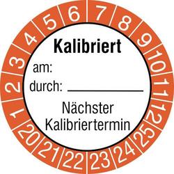 SafetyMarking 15 St. Prüfplakette Kalibriert am: durch: Nächster Kalibriertermin 2020-2025 Orange