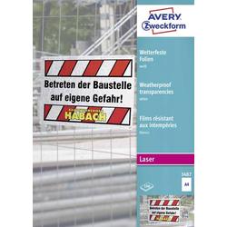 Avery-Zweckform 3487 Wetterfeste Folie DIN A4 Laserdrucker, Farblaserdrucker, Kopierer, Farbkopierer