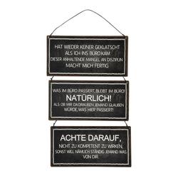 Posiwio Metallschild 3tlg. Schild BÜRO schwarz weiß aus Metall Metallschild mit Spruch (3 Motive)
