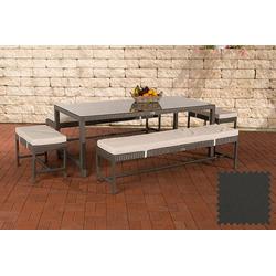 CLP Gartenmöbelset Sitzgruppe Hawaii, Garten-Set aus 4 Sitzbänken und Esstisch grau