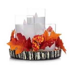ELAMBIA LED-Kerzen auf Baumstamm inkl. Herbstdeko Höhe 19cm, Ø 15cm