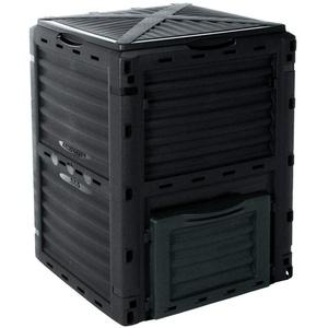 EMAKO Komposter mit Deckel 300L Gartenkomposter dunkelgrün/grau Kunststoff Thermokomposter Compost 83x61x61cm