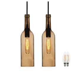 etc-shop LED Pendelleuchte, 2er Set Glas Decken Lampen Tageslicht Flaschen Pendel Leuchten im Set inklusive LED Leuchtmittel