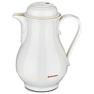 ROTPUNKT Isolierkanne 330 Christa 1,0 l | Zweifunktions-Drehverschluss | BPA Frei- gesundes Trinken | Made in Germany | Warm + Kalthaltung | Glaseinsatz (Ivory)