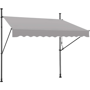 Froadp Klemmmarkise 300cm Gelenkarmmarkise Markise Balkon Balkonmarkise 1,2 * 3m UV-beständig Einziehbar Klemmmarkise mit Handkurbel Höhenverstellbar Grau