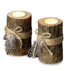 Levandeo® Teelichthalter, 2er Set Teelichthalter Holz je 12cm hoch Kerzenhalter Federn Kerzenständer
