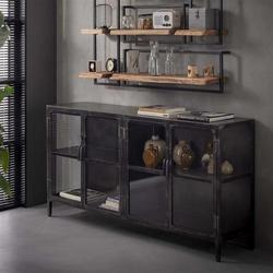 Livin24 Sideboard Suri Industrial Design Metall/Glas schwarz