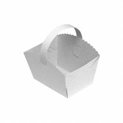 Gebäckkörbchen Tragebox mit Henkel für Brötchen 10x8x6cm, weiß, 50 Stk.