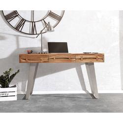 DELIFE Schreibtisch Live-Edge, Akazie Natur 137 cm Massivholz Baumkante Schreibtisch