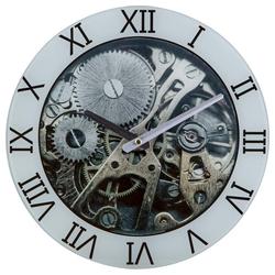 etc-shop Wanduhr (Glasuhr Wanduhr Motiv-Uhrwerk Glas Grau D 30 cm Industriell Esszimmer Küche Flur)