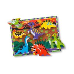 Melissa & Doug Steckpuzzle Holzklotz-Puzzle Dinosaurier, 7 Teile, Puzzleteile