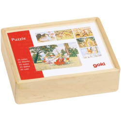 Goki Würfelpuzzle Märchen aus Holz, 20 Würfel 57877