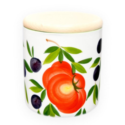 Lashuma Vorratsdose Tomate Olive, Keramik, (1-tlg), Kaffeedose mit Motiv, Große Salzdose rund Ø 13 cm