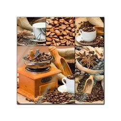 Bilderdepot24 Glasbild, Glasbild - Kaffee Collage I 20 cm x 20 cm