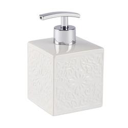 WENKO Cordoba Seifenspender, weiß, Ideal für Bad, Küche und Gäste-WC, Füllmenge: 500 ml, Farbe: weiß