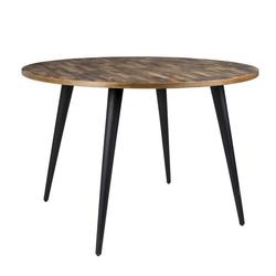 Trendmöbel24 Esstisch Esstisch MO 110 cm mit runder Platte aus recycled Teak