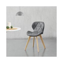 Lot de 4 Chaises de Salle à Manger Design Siège Cuisine Similicuir Pieds Solides en Hêtre 81 x 57 x