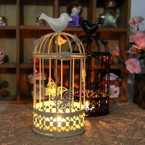 Clevoers Vintage Vogelkäfig Kerzenleuchter, Kerzenhalter Laterne Aus Eisen Vintage-Stil Klassischer Europäischer Stil Deko, Kerzenständer Aus Eisen Mit Schnitzfiguren