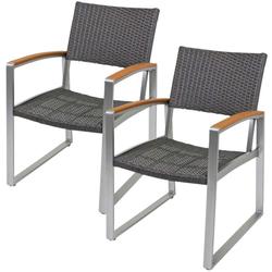 2er Set ALU Stühle Sessel Sitze Garten Veranda Balkon-Set Terrasse