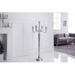 riess-ambiente Kerzenständer KERZENSTÄNDER 120cm silber (1 Stück), Metall · Kerzenhalter · Deko · Barock-Design 56 cm x 120 cm x 56 cm
