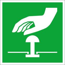 Fluchtwegschild Folie Not-Halt-Knopf (B x H) 100mm x 100mm ISO 7010 1St.