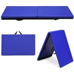 COSTWAY Weichbodenmatte Weichbodenmatte, 2 Fach klappbare Gymnastikmatte, Yogamatte mit Klettverschluss und 2 Tragegriffe blau