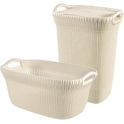 CURVER Wäschebox KNIT Wäschebox+Wäschekorb, 2´er-Set weiß