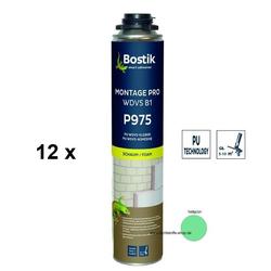 12 x Bostik Montage Pro WDVS B1 P975 1K PU Schaum 750ml NBS Dose hellgrün