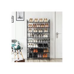 SONGMICS Schuhregal LMR08B, Set aus 2 stapelbaren 4-stufigen Schuhorganizern, aus Metall, schwarz