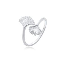 Elli Fingerring Verstellbar offen Ginkgo Blatt Natur 925 Silber, Ginkgo