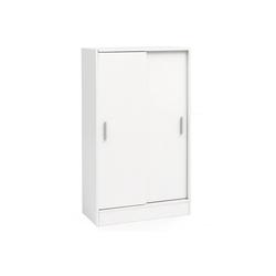 FINEBUY Sideboard FB51842, Kommode Weiß 60 cm Breit mit 2 Schiebetüren für Büro Akten Schiebetürenschrank Aktenschrank Sideboard Kleiderschrank