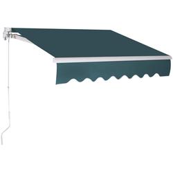 COSTWAY Markise Sonnenmarkise, Terrassenmarkise, Klemmmarkise 3 x 2,5 m, mit Kurbel, für Balkon und Veranda grün