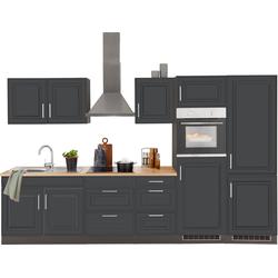 HELD MÖBEL Küchenzeile Stockholm, ohne E-Geräte, Breite 330 cm, mit hochwertigen MDF Fronten im Landhaus-Stil grau