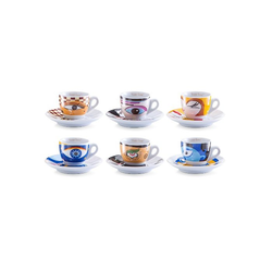 Zeller Present Espressotasse Magic Eyes, Porzellan, 6 Tassen, 6 Untertassen
