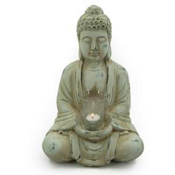 NOOR LIVING Teelichthalter Buddha (1 Stück), mit Teelichtglas, Höhe 40 cm