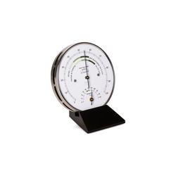 Fischer Barometer Wohnklima Thermo- Hygrometer, Holzsockel schwarz Innenwetterstation