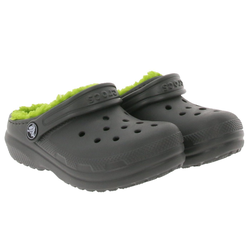 Crocs crocs Classic Lined Clogs gefütterte Kinder Haus-Schuhe Gummi-Schuhe Grau/Grün Clog 30