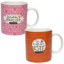 H:)PPY life. Tassen-Set Du bist der Beste. 2 Tassen in Geschenkbox.