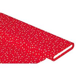 """Baumwollstoff Kristalle """"Mona"""", rot/weiß"""