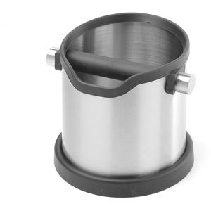 HENDI Abklopfbehälter, Abschlagbehälter, Abschlagkasten, entleeren des Kaffeesatz, mit abnehmbarer Abklopfstange, Rund, 153x185x(H)165mm, Edelstahl