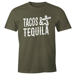 MoonWorks Print-Shirt Herren T-Shirt Tacos & Tequila Wurm Sombrero Tequilla Mexikanisch Moonworks® mit Print grün XXL