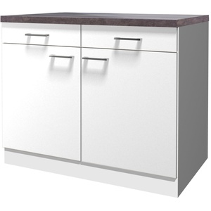 Flex-Well Küchenschrank LUCCA | Unterschrank | 2-türig, 2 Schubladen | Breite 100 cm | Weiß