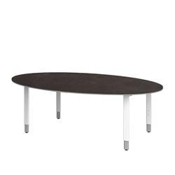 Konferenztisch in Weiß Braun Oval