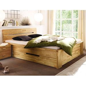 expendio Stauraumbett Caspar, Schubkastenbett 140x200cm hochwertiges Massivholzbett aus Eiche geölt mit 2 Schubladen