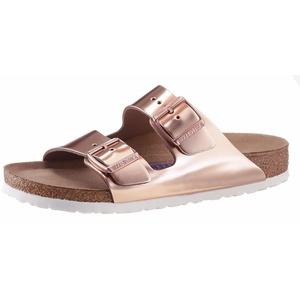 Birkenstock ARIZONA SFB Pantolette in schmaler Schuhweite, Metallic-Optik, mit Soft-Fußbett braun 40