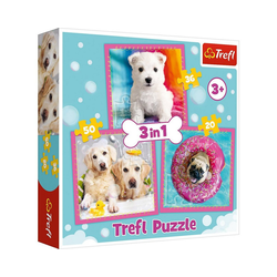 Trefl Puzzle Puzzle 3 in 1 - Dogs in the bath, Puzzleteile