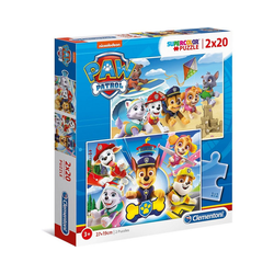 Clementoni® Puzzle Puzzle 2 x 20 Teile - Supercolor - Paw Patrol, Puzzleteile