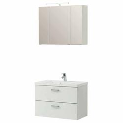 Waschplatz Set in Weiß 3D Spiegelschrank (2-teilig)